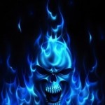 Flaming Blue Skull